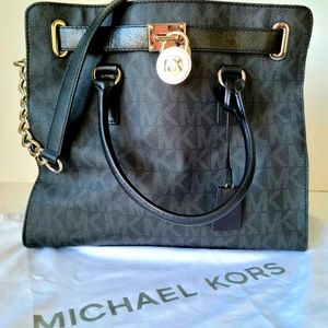 Michael Kors Black Hamilton Monogram Bag